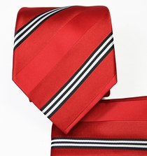 Red Striped Necktie and Pocket Square Set (Q506-C)