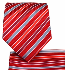 Red Striped Necktie and Pocket Square Set (Q575-E)