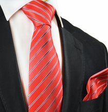 Red Striped Silk Tie and Pocket Square by Paul Malone
