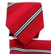 Red Stripes . Necktie a. Pocket Square Set (Q506-C)