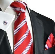 Red, White and Blue Paul Malone Silk Necktie Set (911CH)