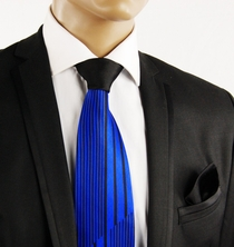 Royal Blue a. Black Contrast Knot Tie by Steven Land
