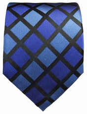 Royal Blue and Black Paul Malone Silk Tie (480)