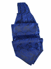 Royal Blue Paisley Ascot Tie and Pocket Square