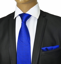 Royal Blue Silk Tie Set by Paul Malone Red Line