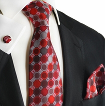 Rumba Red Silk Tie Set by Paul Malone