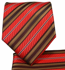 Rust and Brown Striped Necktie and Pocket Square