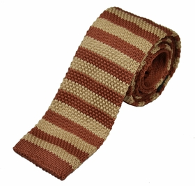 Rust and Tan Knit Tie by Paul Malone (KN677)