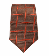 Rust Brown Slim Silk Tie by Paul Malone (Slim412)