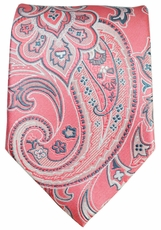 Salmon and Grey Paisley Men's Tie