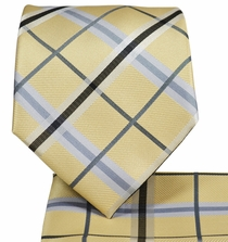 Sand Plaid Necktie and Pocket Square