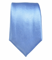 Satin Blue Slim Silk Tie by Paul Malone