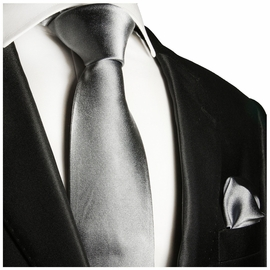 Satin Grey Silk Tie and Pocket Square by Paul Malone