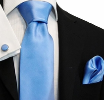 Satin Lite Blue Paul Malone Silk Necktie Set (921CH)