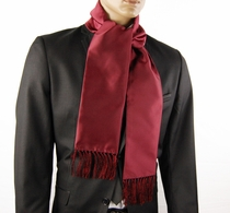 Satin Men's Fashion Scarf . Burgundy Red (SC100-MM)