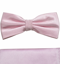 Satin Pink Bow Tie and Pocket Square Set by Paul Malone . 100% Silk (BT922H)