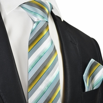 Sea Green Striped Silk Tie and Pocket Square by Paul Malone
