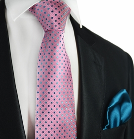 Sea Pink and Blue Coral 7-fold Silk Tie Set by Paul Malone