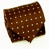 Silk Necktie Set by Paul Malone, Brown, Polka Dots (925)