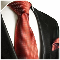 Silk Tie and Pocket Square with White Pin Dots on Red . Paul Malone Red Line