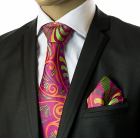 Silk Tie and Pocket Square Set by Verse9 . Extra Big Knot