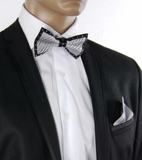 Silver a. Black Crystal Bow Tie Set . Silk (C1PT-7)