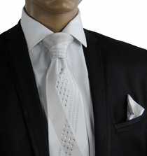 Silver a. White Crystal Silk Tie Set (C61-2)