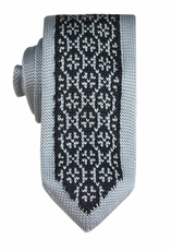 Silver and Black Knit Tie by Paul Malone (KN657)