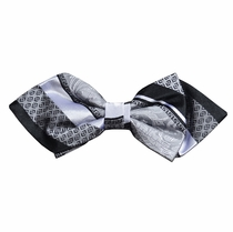 Silver and Black Silk Bow Tie by Paul Malone Red Line