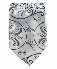 Silver and Black Slim Tie by Paul Malone . 100% Silk