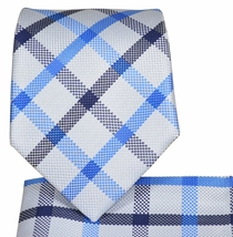 Silver and Blue Plaid Tie and Pocket Square