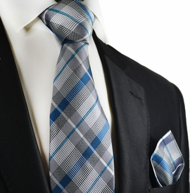Silver and Blue Silk Tie and Pocket Square by Paul Malone