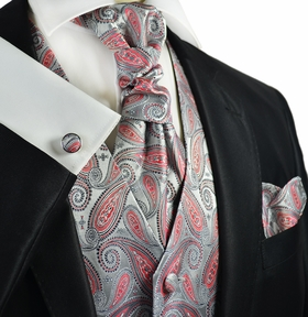 Silver and Cayenne Red Tuxedo Vest Set by Paul Malone