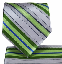 Silver and Green Necktie and Pocket Square