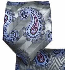 Silver and Pink Paisley Tie and Pocket Square