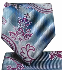 Silver and Purple Paisley Tie and Pocket Square