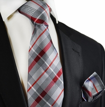 Silver and Red Silk Tie and Pocket Square by Paul Malone