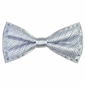 Silver Crystal Silk Bow Tie Set by Steven Land