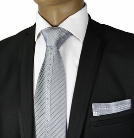 Silver Crystal Silk Tie a. Pocket Square by Steven Land