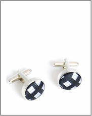 Silver Cufflinks with Black and Grey Silk Lining (C305)