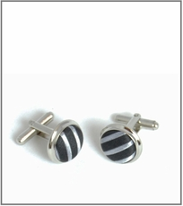 Silver Cufflinks with Black and Silver Silk Lining (C408)