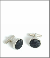 Silver Cufflinks with Black Silk Lining (C475)