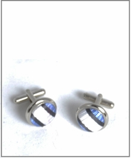 Silver Cufflinks with Blue and White Silk Lining (C241)