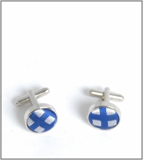 Silver Cufflinks with Blue and White Silk Lining (C321)