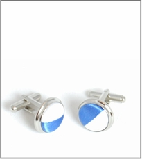 Silver Cufflinks with Blue and White Silk Lining (C413)