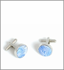 Silver Cufflinks with Blue Silk Lining (C428)