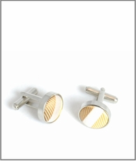 Silver Cufflinks with Gold Silk Lining (C484)