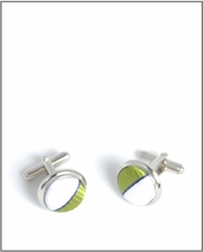 Silver Cufflinks with Green and White Silk Lining (C103)
