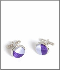 Silver Cufflinks with Lavender Silk Lining (C243)