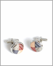 Silver Cufflinks with Orange and Gray Silk Lining (C252)